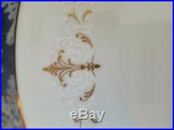 Noritake Japan Courtney 6520 China Set 59 Pieces White and Gold Scroll Filagree