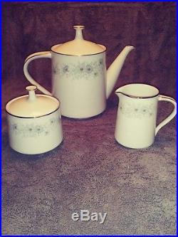 Noritake Japan Inverness # 6716 Tea Pot with Creamer & Sugar Set China Tea Set