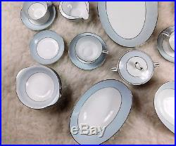 Noritake Japan Laureate Bone China Blue and White Lace Dinnerware Set 37-Pieces