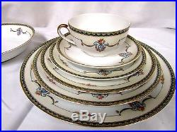 Noritake Laureate China 7pc Place Setting Blue Border Floral Swags