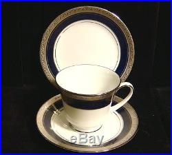 Noritake Legendary China Crestwood Cobalt Platinum Trio Set -Bread/Cup/Saucer