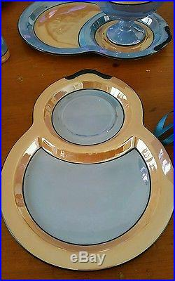 Noritake Lustre China -Rare 10 Pc Snack set Blue And Gold Antique Hand Painted