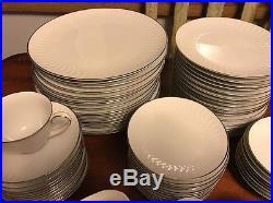 Noritake MCM 82PCS Dinnerware/China Set White Embossed-Platinum Trim Sonoma#6353