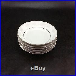 Noritake Misty 2883 Fine China Set 22 Piece Lot White Platinum Trim Saucer Bowl