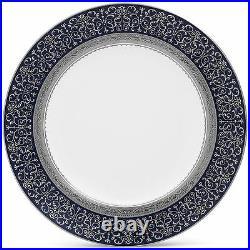 Noritake Odessa Cobalt Platinum Accent Plates, Set of 4