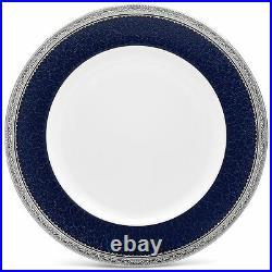 Noritake Odessa Cobalt Platinum Dinner Plates, Set of 4