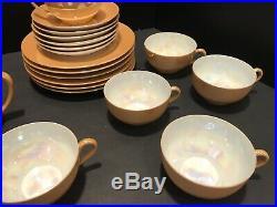 Noritake Orange Luster Irrodecent China Setting For 6 Plates Cups Tea Pot Cream