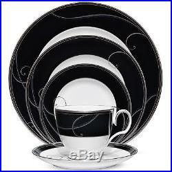 Noritake Platinum Wave Ebony 60Pc China Set, Service for 12