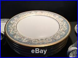 Noritake Polonaise China service for 6 plc setting cups plates blue gold #2045