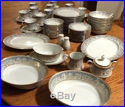Noritake Polonaise Dinnerware Set Service for 12 Blue White Gold China Serving