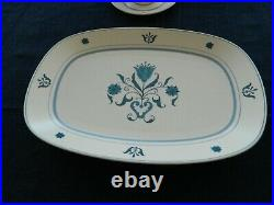 Noritake Progression China #9004 Blue Haven Set for 8 With2 Serving Pieces 16-3