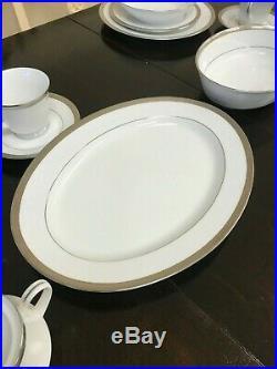 Noritake Queens Platinum 4286 Contemporary Fine China 6 Person Complete Set