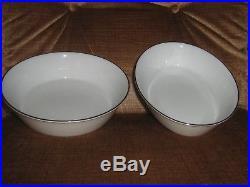 Noritake Reina China -12 complete place settings +, white/white, platinum rim