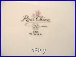 Noritake-Rose China-Occupied Japan- #2201-Wilma-7 Piece Place Setting-Pink Roses