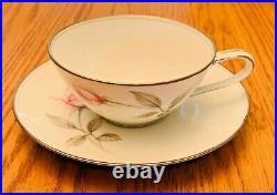 Noritake Rosemarie China 6044 (12) Tea Cups & Saucer Sets with Creamer Sugar Bowl