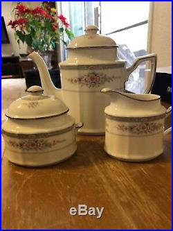 Noritake Rothschild China Tea/Coffee Pot, Sugar and Creamer Set