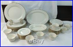Noritake TULANE #7562 42pc. Ivory China Set Service for 8 Ivory with Gold Rims