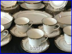 Noritake Vintage China Dinner Service For 12 Tea Set Cups Plates -White Lilys