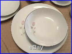 Noritake Vintage China PASADENA 6311 pattern, pink/grey rosebud FULL SET