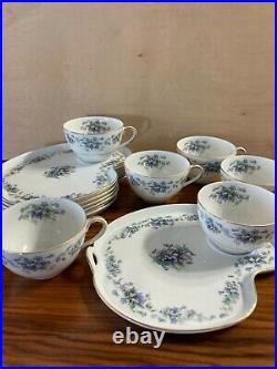 Noritake Violette 3054 Snack Dessert Plate & Cup Vintage China 1948-58 Set of 6