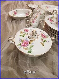 Noritake pink poppy 12 Place Setting 96 Piece gold trim Fine China full Set