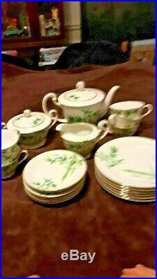 Rare Noritake Komaru china tea set bamboo 1940s