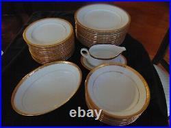 SET 62 PIECES Noritake Essex Gold 4322 Bone China STUNNING