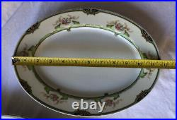 SET OF 2 NORITAKE China Floreal Oval Serving Dish Floral w Gold Trim 16 12
