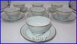 SET OF 7 NORITAKE CHINA PORCELAIN TEA CUPS & SAUCERS with GOLD TRIM JAPAN