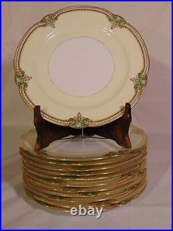 Set 12 Noritake China Japan Grenwold Dinner Plates 10 Green Gold
