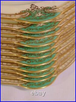 Set 12 Noritake China Japan Grenwold Square Luncheon Plates 8 3/8 Green Gold