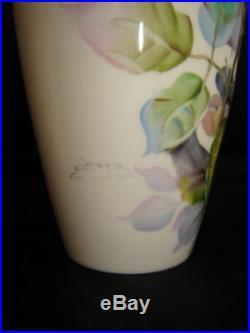 Set (2) NORITAKE Elegant Bone China PINK ROSE Floral Vases (signed S. Kimura)