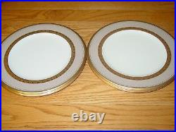 Set (4) Noritake Fitzgerald Bone China 9 Salad Luncheon Accent Plates Gold Trim