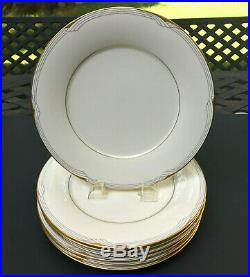 Set (7) Noritake Golden Cove Fine China Gold-Trim Dinner Plates Excellent