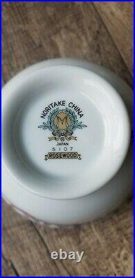 Set Of 21 Noritake China Rosewood 5107 Footed Cups, Plates, Bowls VTG 1950 Japan
