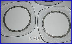 Set Of 4 Noritake China Crestwood Platinum Square Luncheon Plates Nice S11