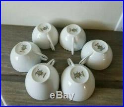 Set Of 6 Noritake Porcelain China 6450 Q Reina WithPlatinum Snack Plates WithCups