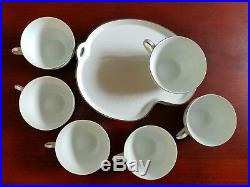 Set Of 6 Noritake Porcelain China 6450 Q Retina WithPlatinum Snack Plates WithCups
