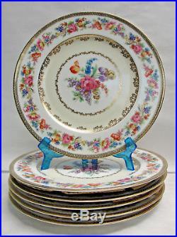Set SIX (6) NORITAKE China DRESDEN FLOWERS #N1404 11 DINNER/SERVICE PLATES