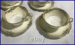 Set of 11 Noritake China Japan Grenwold Tea Coffee Cups & Saucers Green Gold