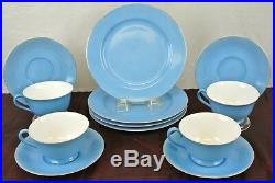 Set of 4 Noritake Blue Morimura China Cup and Saucer and Dessert Plate