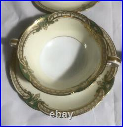 Set of 4 Noritake China Japan Grenwold Cream Soups & Underplates Green Gold