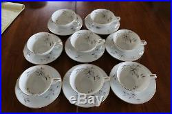 Set of 8 Noritake Helene 5602 Teacups and saucers gold trim china