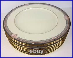 Set of 8 Noritake Stanford Court Shell Pattern Fine Bone China Dinner Plates