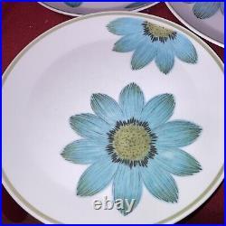 Set of 9 -Vintage Noritake Progression China Blue Up-Sa Daisy Dinner Plates 9001