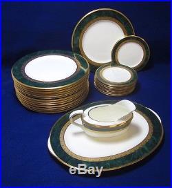 Set of Noritake Fitzgerald 4712 Japan Bone China Plates Green Gold Rim