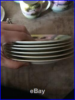 VINTAGE NORITAKE CHINA TEA SET Plates BEAUTIFUL GOLD TRIM SERVES 6 Hand Painted