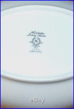 VINTAGE NORITAKE Ivory China- CANDLELIGHT Pattern 41 Piece Set Platinum Trim