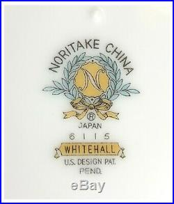 VTG Noritake Whitehall China Set 118 pc Service For 16 White Silver Trim Japan