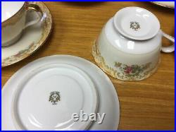 Vintage 1930s NORITAKE M China (8 Sets) Footed Cups & Saucers Excellent